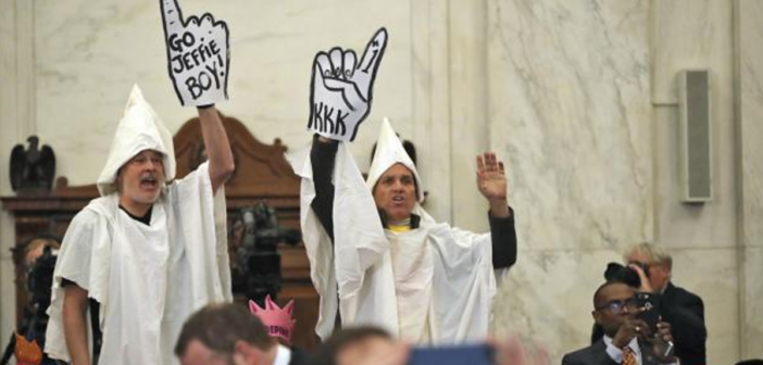 Jeff Sessions Called a Racist Amid KKK Protesters at Confirmation Hearing